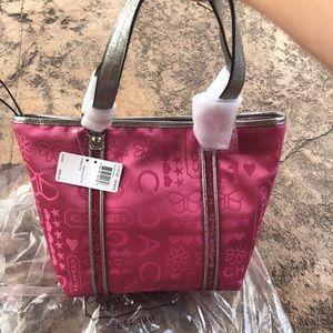 Pink COACH BNDNA GLTR TOT handbag, tote